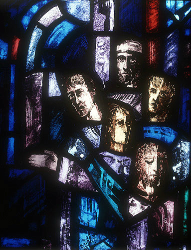 Salisbury Cathedral, Trinity Chapel, Prisoners of Conscience window by Gabriel Loire, lancet A detail of panel 4, five heads, in Gabriel Loire