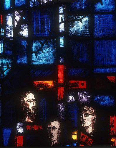 Salisbury Cathedral, Trinity Chapel, Prisoners of Conscience window by Gabriel Loire, lancet A, panel 11, in Gabriel Loire