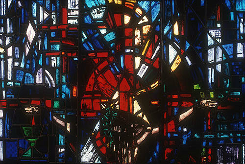 Salisbury Cathedral, Prisoners of Conscience window, lancet C, panels 4, 12 and 20, detail of head of crucified Christ, by Gabriel Loire in his studio, Chartres, France