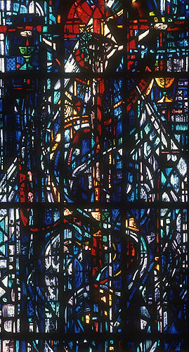 Salisbury Cathedral, Prisoners of Conscience window, Trinity Chapel, lancet C, detail of crucifixion, Gabriel Loire, in his studio, Chartres, France