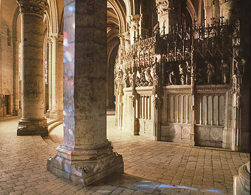 Ambulatory choir screen seen from east, Chartres Cathedral, France
