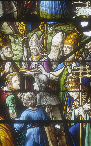 Bishops and popes, St Louis window, 1660, Church of La Madeleine, Verneuil, France