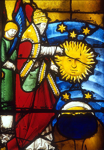God creating the sun, detail of the Creation Window, sixteenth century, church of St Florentin, France
