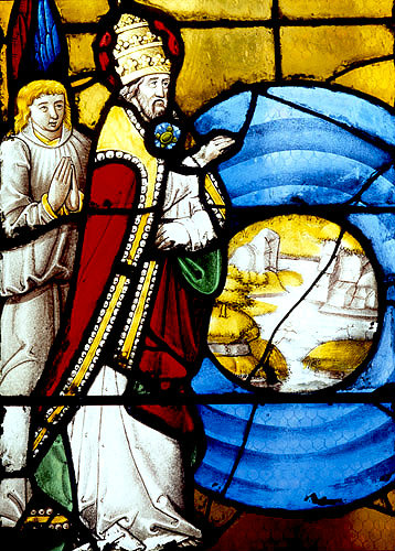 God separating the Earth from the Water, detail of Creation Window, sixteenth century, church of St Florentin, France