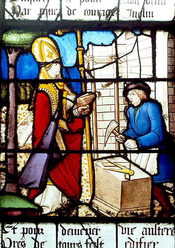 St Martin being ordained Bishop of Tours, panel 9, St Martin window, sixteenth century, church at St Florentin France