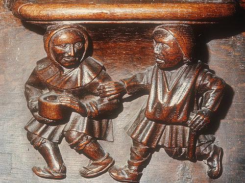 Misericord of blind pilgrims on Lazarus Friday, fifteenth century, Church of La Trinite, Vendome, France
