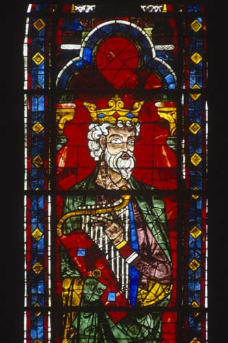 David, detail from 13th century stained glass lancet below the north Rose, Chartres Cathedral, France