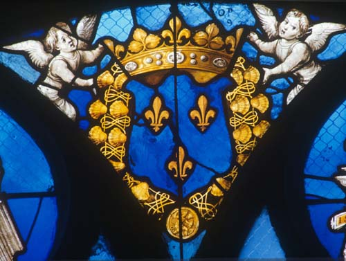 Coat of arms, detail in tracery of the Tullier window, 16th century stained glass, Bourges Cathedral, France