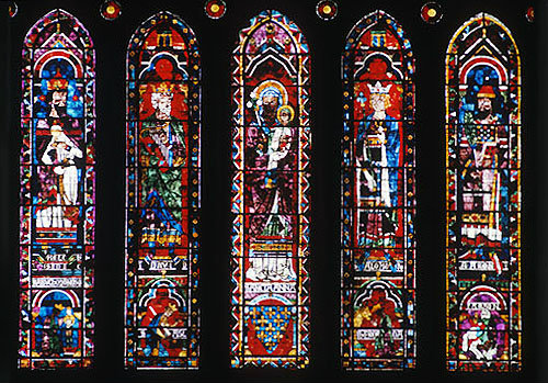 Five lancets under north rose, Melchizedek, Nebuchadnezzar, David, Saul, St Anne, Virgin Mary, Solomon, Jeroboam, Aaron above Pharaoh, Chartres Cathedral, France