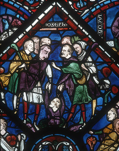Joseph in the pit, 1210, detail from window in north aisle of nave, Chartres Cathedral, Chartres, France