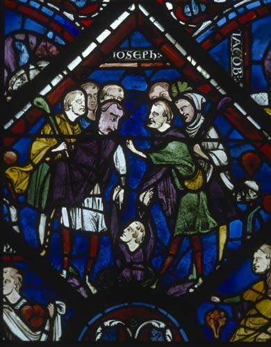 Joseph being put down the well,  Joseph window, 13th stained glass, Chartres Cathedral, France