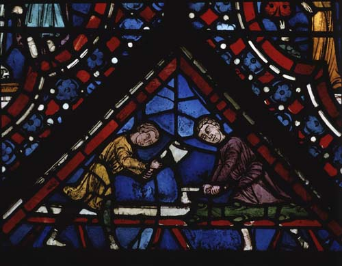 Carpenters, donors of Noah window, 13th century stained glass, Chartres Cathedral, France