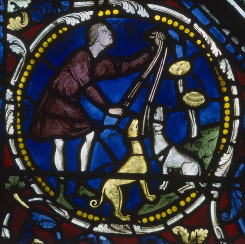 Hunting scene, detail from St Eustace window, 13th century stained glass, Chartres Cathedral, France