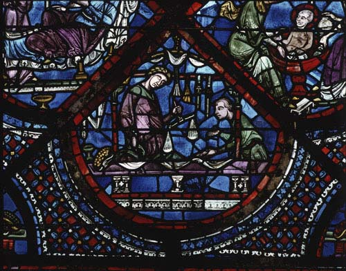 Apothecaries and haberdashers, donors of the Miracles of St Nicholas window, 13th century stained glass, north aisle, Chartres Cathedral, France