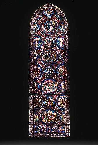 Death and Assumption of the Virgin Mary, window 7, thirteenth century, Chartres Cathedral, France
