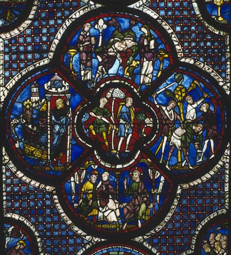 Parable of the Good Samaritan, donors the shoemakers, Creation window, 13th century stained glass, Chartres Cathedral, France