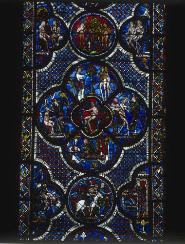 Good Samaritan and Adam and Eve Window, the Creation panels, 13th century stained glass, Chartres Cathedral, France