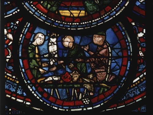Butchers, donors, Miracles of Mary window, 13th century stained glass, south aisle, Chartres Cathedral, France