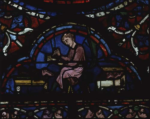 Shoemakers, donors of the Assumption window, 13th century stained glass, Chartres Cathedral, France