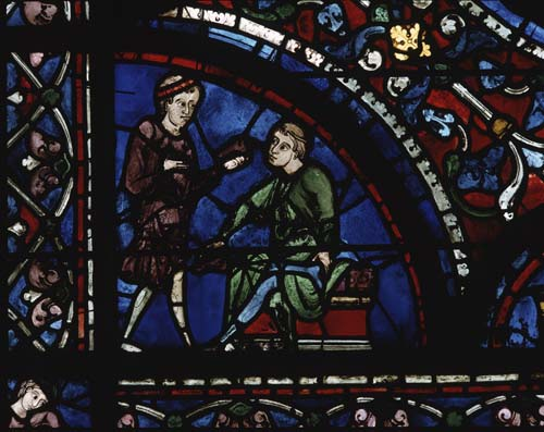 Shoemakers, donors of the Dormition window, 13th century stained glass, south aisle, Chartres Cathedral, France
