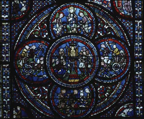 Miracles of Mary window, lower quatrefoil, 13th century ...