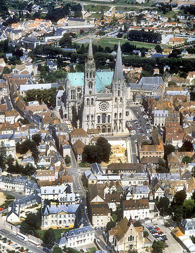 Aerial view of west aspect, Chartres Cathedral, France