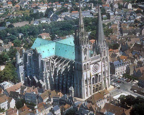 Aerial view from west north west, Chartres Cathedral, France