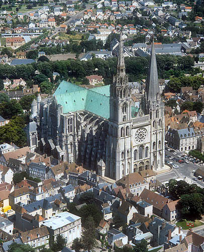 Aerial from north west, Chartres Cathedral, France