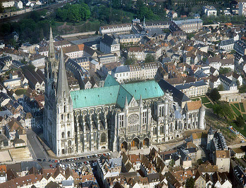 Aerial view from north east, Chartres Cathedral, France