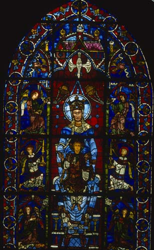 Blue Virgin window, Notre-Dame de la Belle Verriere window, 12th century stained glass, south ambulatory, Chartres Cathedral, France