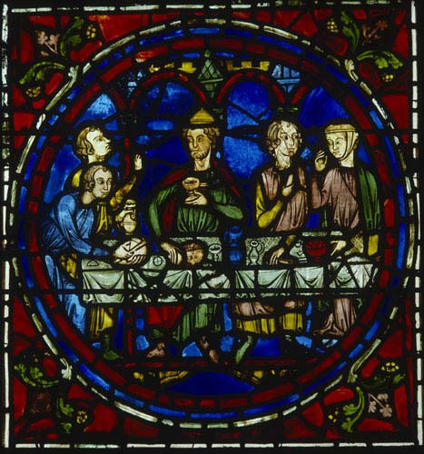 Marriage at Cana, 13th century stained glass, south ambulatory, Chartres Cathedral, France