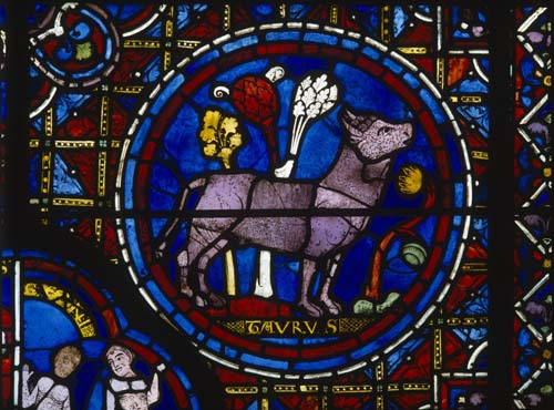 Taurus, Zodiac window, 13th century stained glass, south ambulatory, Chartres Cathedral, France