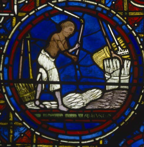 August, Zodiac window, 13th century stained glass, south ambulatory, Chartres Cathedral, France