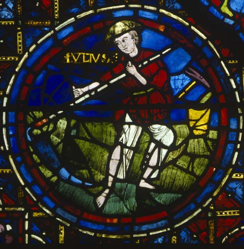 June, although named Julius, Zodiac window, 13th century stained glass, south ambulatory, Chartres Cathedral, France