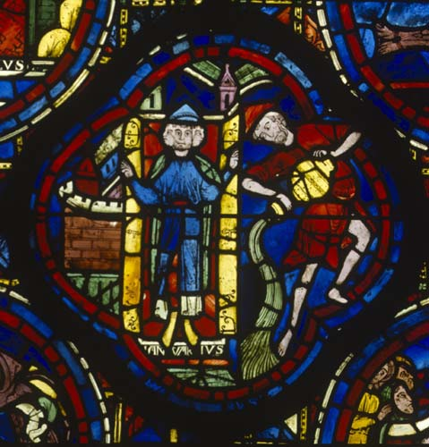 January, Zodiac window,  13th century stained glass, south ambulatory, Chartres Cathedral, France