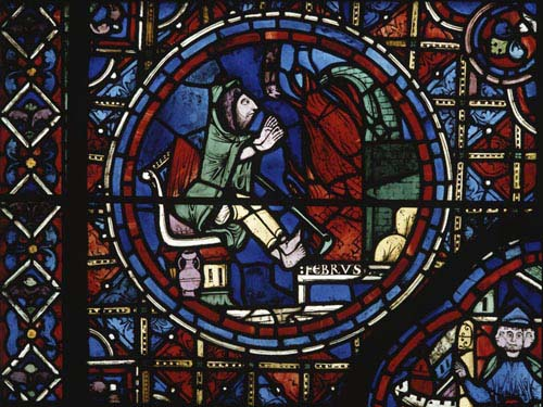 February, Zodiac window,  13th century stained glass, south ambulatory, Chartres Cathedral, France