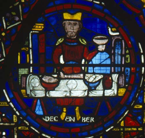 December, Zodiac window, 13th century stained glass, south ambulatory, Chartres Cathedral, France