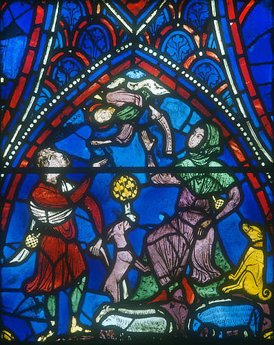 Life of the Virgin, window 16, Annunciation to the Shepherds, thirteenth century, south ambulatory, Chartres Cathedral, France