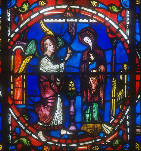 Life of the Virgin, window 16, panel 14, the Annunciation, thirteenth century, south ambulatory, Chartres Cathedral, France