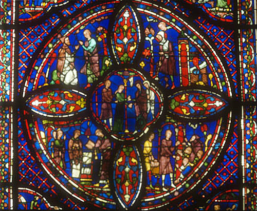 Story of St Anthony and St Paul the Anchorite, window number 13, thirteenth century, lower roundel, south ambulatory, Chartres Cathedral, Chartres, France