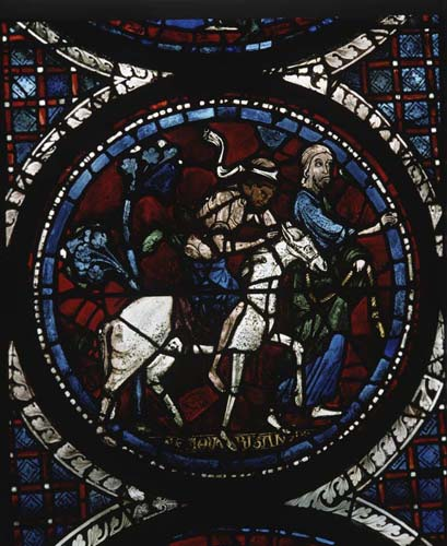 Good Samaritan and Adam and Eve window, 13th century stained glass, Chartres Cathedral, France