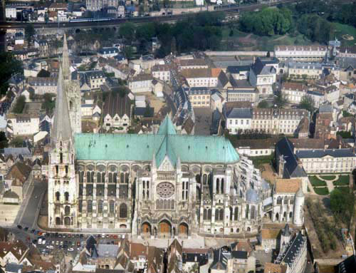 Aerial view from due south, Chartres Cathedral, France