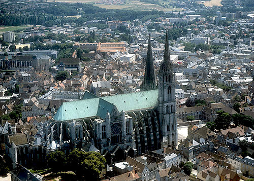 Aerial view from south west, Chartres Cathedral, France