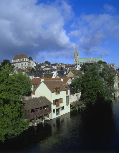 Chartres Cathedral and Church of St Aignan across the river, Chartres, France