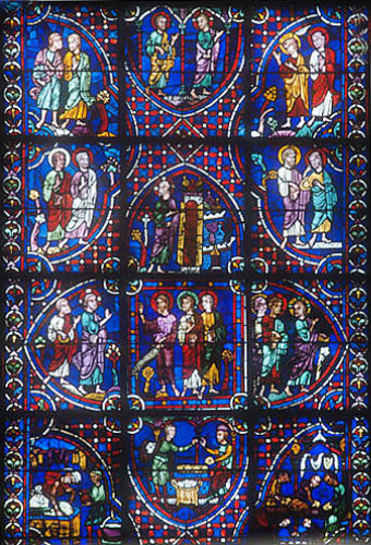 Story of the Apostles, window number 34, thirteenth century, east ambulatory, Chartres Cathedral, Chartres, France