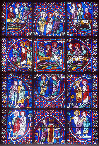 Story of the Apostles, window number 34, panels 7-18.  thirteenth century, east ambulatory, Chartres Cathedral, Chartres, France