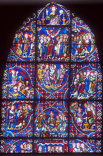 Story of the Apostles, window number 34,  panels 25-34, thirteenth century, east ambulatory, Chartres Cathedral, Chartres, France