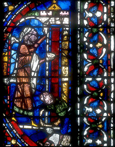 Israelites marking doorsteps with blood, symbolic window of the Redemption, north aisle, Chartres Cathedral, France