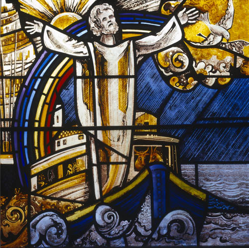 Noahs Ark, 20th century stained glass by Gabriel Loire