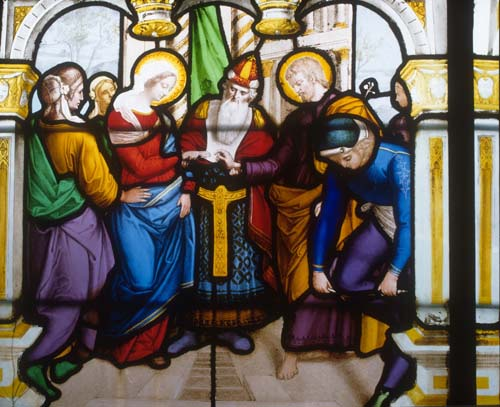 Marriage of Mary and Joseph, 19th century stained glass, Church of St Aignan, Chartres, France